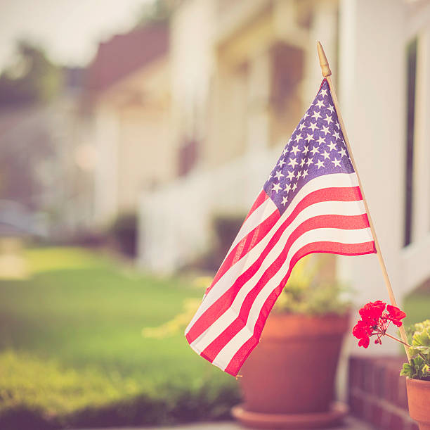 Patriotic Homestead stock photo