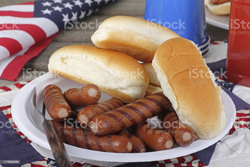 Patriotic Hot Dogs royalty-free stock photo