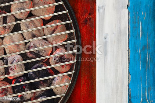 470765518istockphoto Patriotic Hot Grill with Glowing Briquettes 466652706