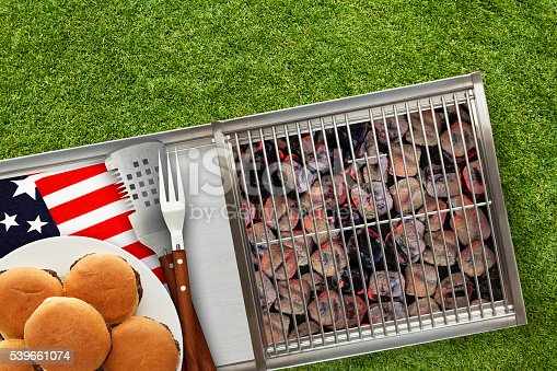 470765518istockphoto Patriotic Hot Grill with Platted Burgers on Lawn 539661074