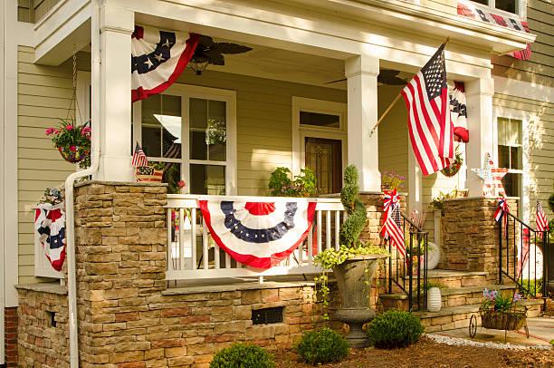Patriotic  House Decorations stock photo