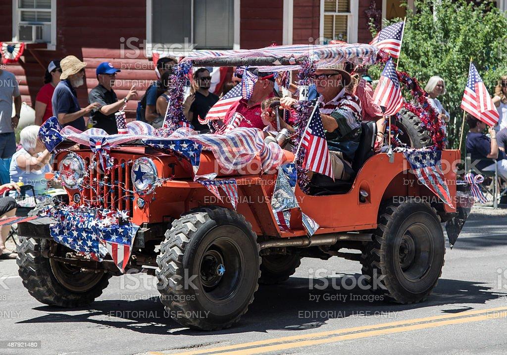 Patriotic Jeep stock photo