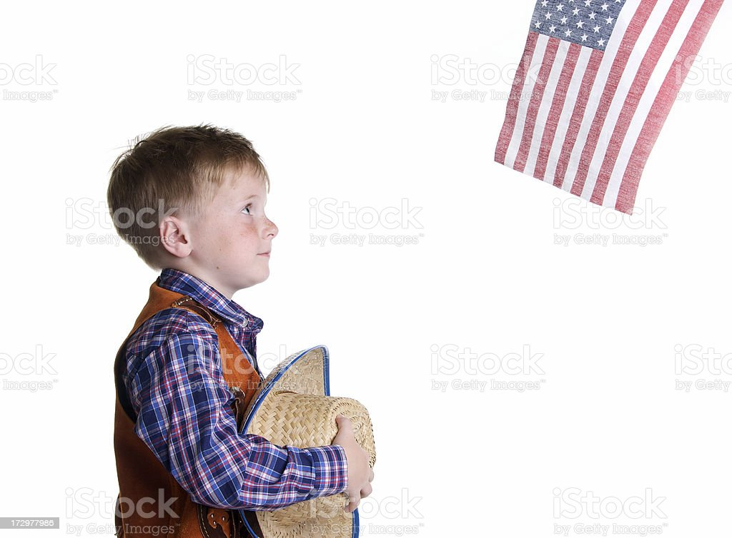 Patriotic Little  Cowboy royalty-free stock photo