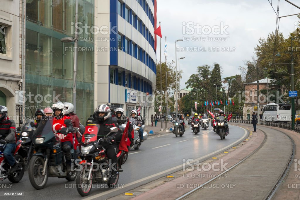 Patriotic Mororbikers, Republic Day, Galata, Beyoglu, Istanbul stock photo