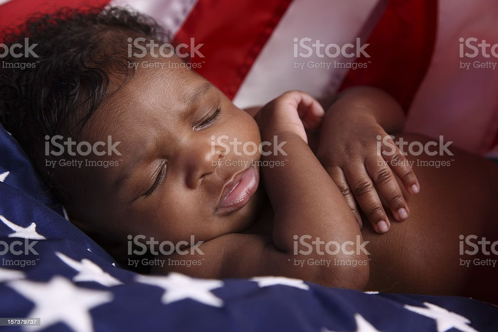 Patriotic Newborn African American Baby stock photo