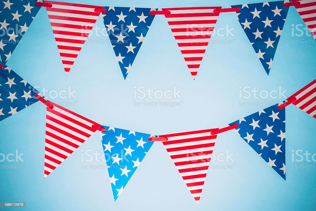 Patriotic Party Flags for July Fourth stock photo
