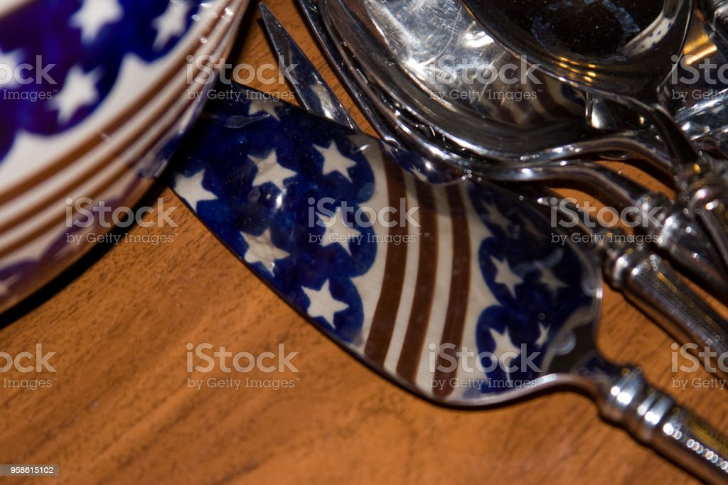 patriotic pattern reflected on utensils stock photo