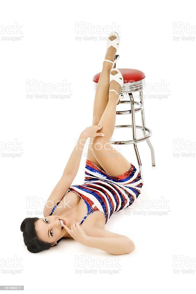 Patriotic Pin-up Girl with Retro Stool royalty-free stock photo