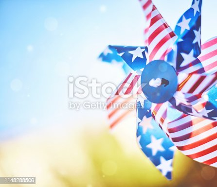 istock Patriotic pinwheel spinning in summer sunshine 1148288506