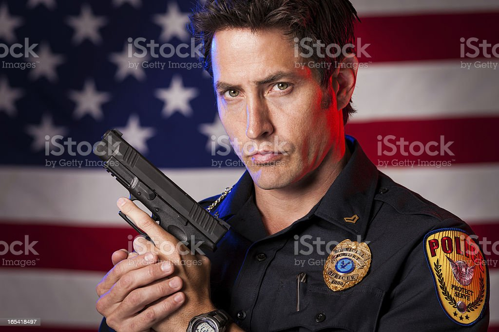 Patriotic Police Officer stock photo