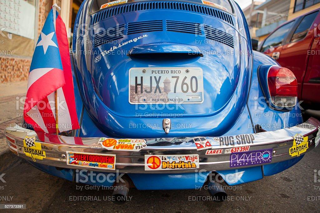 Patriotic Puerto Ricon VW Bug stock photo