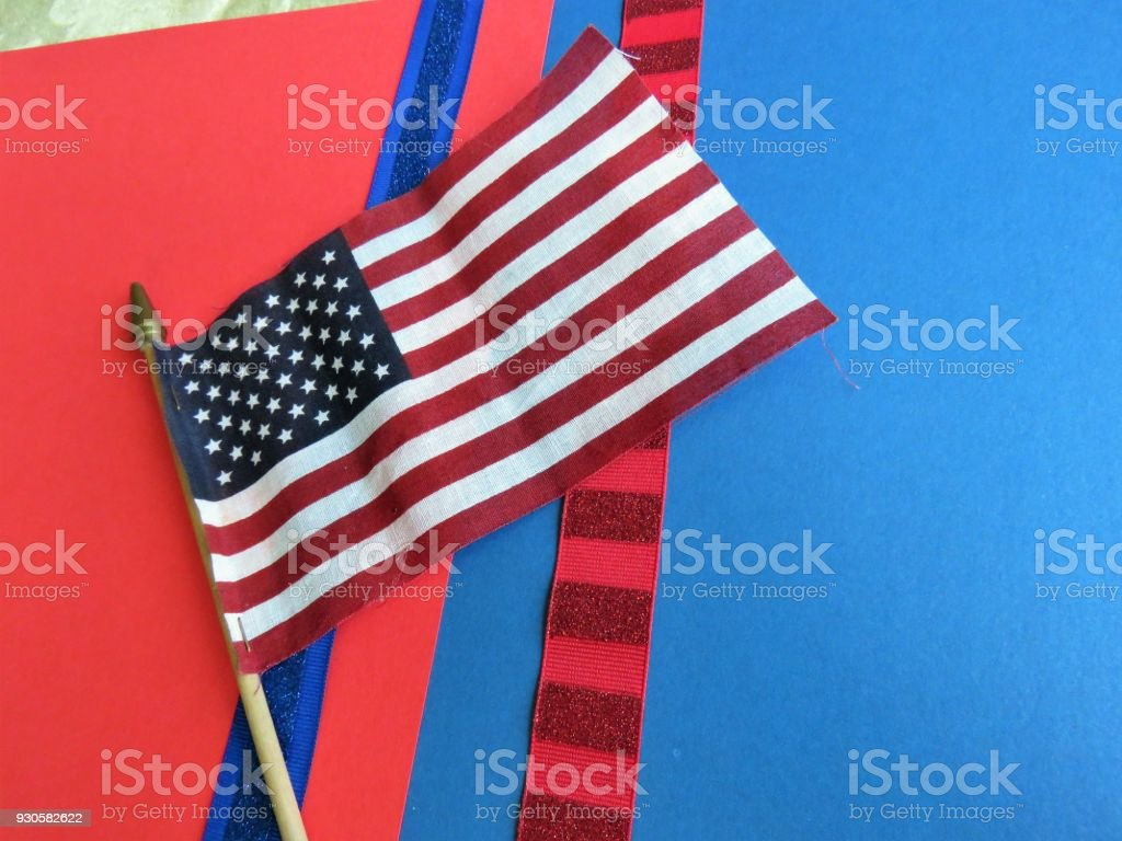 USA patriotic red & blue backgrounds, flag, God Bless America stock photo