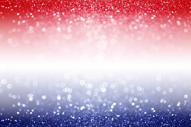 Patriotic Red White and Blue Background Abstract patriotic red white and blue glitter sparkle background for voting, memorial, labor day and election independence day photos stock pictures, royalty-free photos & images