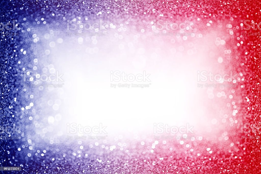 Patriotic Red White and Blue Border Party Invite Background Glitter Frame stock photo