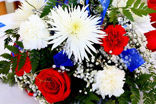Patriotic Red, White, and Blue Bouquet stock photo