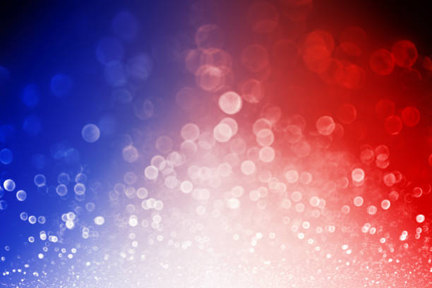Patriotic Red White and Blue Explosion Background Abstract patriotic red white and blue glitter sparkle explosion background for celebrations, voting, July fireworks, memorial, labor day and elections independence day photos stock pictures, royalty-free photos & images