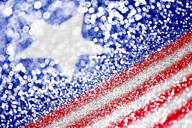 Patriotic red white and blue glitter sparkle stock photo