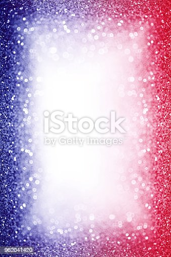680789648 istock photo Patriotic Red White and Blue Party Invite Border Background Glitter Sparkle Frame 962041420