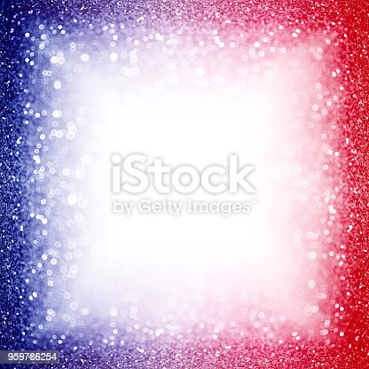 680789648 istock photo Patriotic Red White and Blue Party Invite Border Background Sparkle Frame 959786254