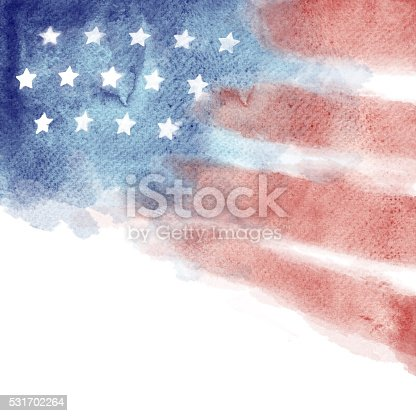 istock Patriotic Red, White, and Blue Watercolor Painted Background 531702264