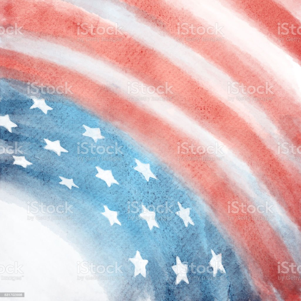 Patriotic Red, White, and Blue Watercolor Painted Background stock photo