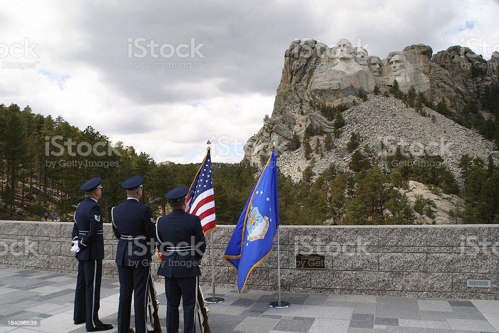 Patriotic Scene at Mount Rushmore royalty-free stock photo