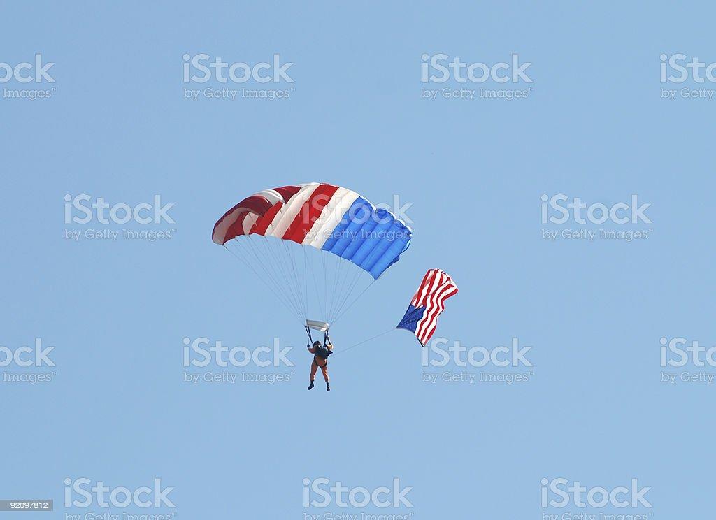 Patriotic skydiver royalty-free stock photo