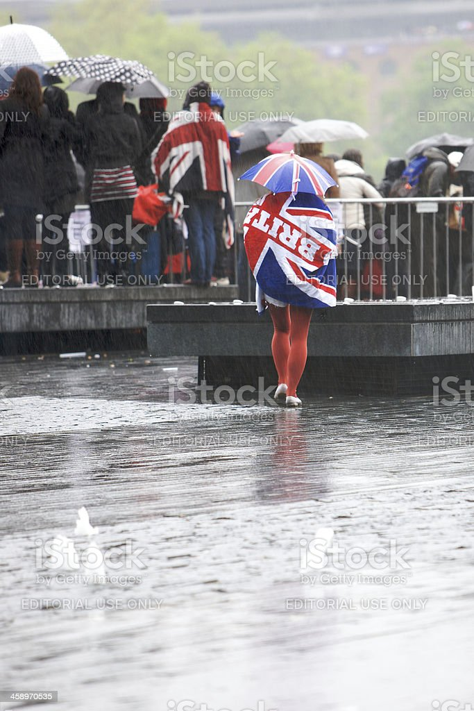 Patriotic Spectators at the Queen's Diamond Jubilee River Thames Pageant stock photo