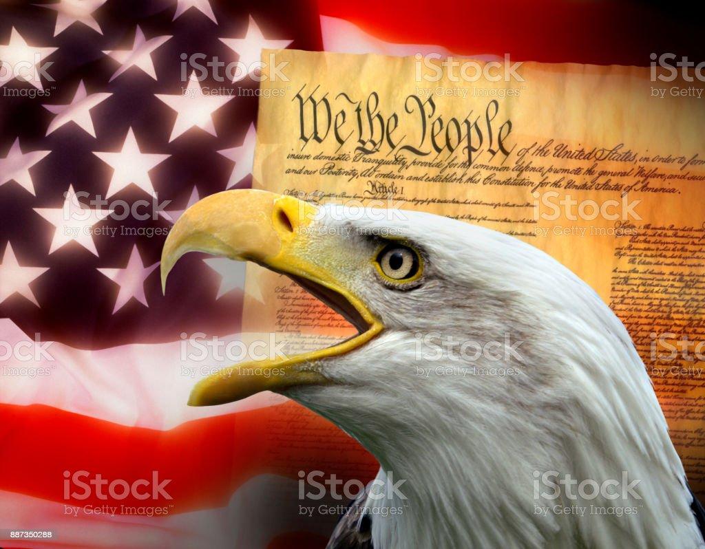 Patriotic symbols of The United States of America - United States Constitution stock photo