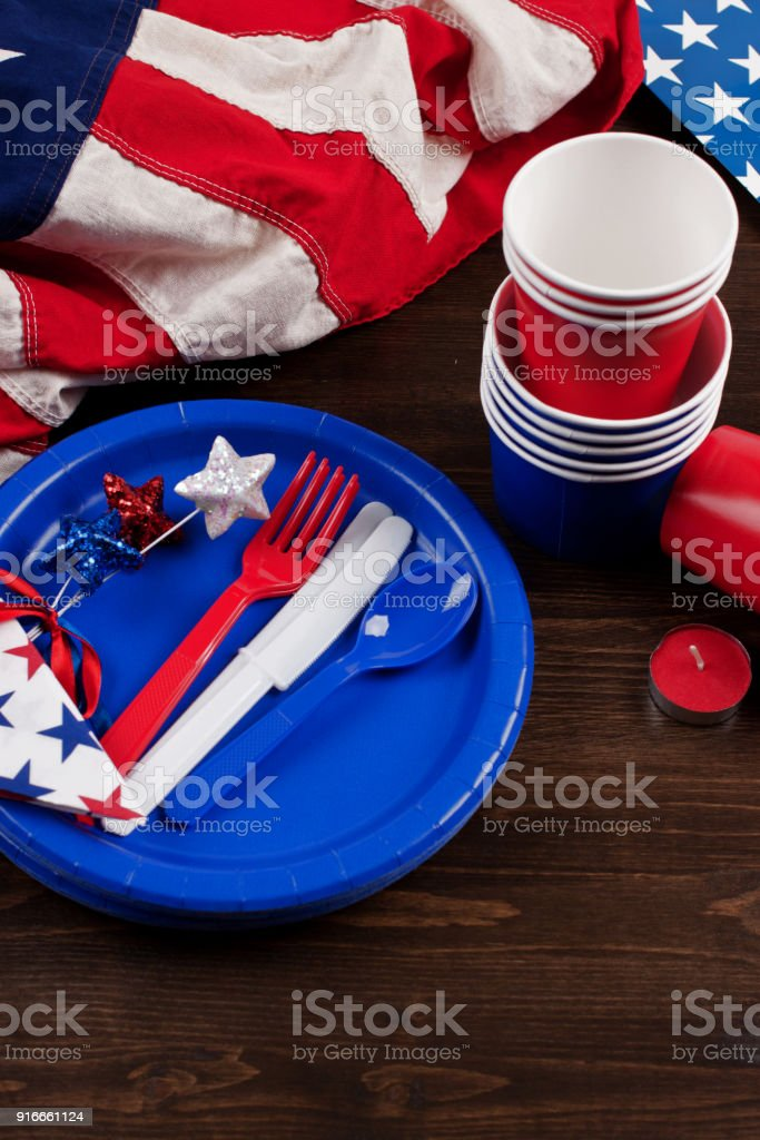 patriotic table setting 4th july US memorial day independence day royalty-free & Patriotic Table Setting 4th July Us Memorial Day Independence Day ...