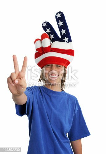96695299 istock photo Patriotic Teen - Peace Sign 115892230