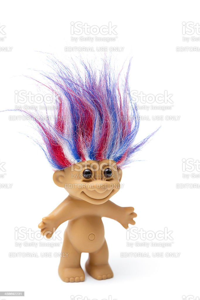 Patriotic troll vintage toy with red, white & blue hair stock photo