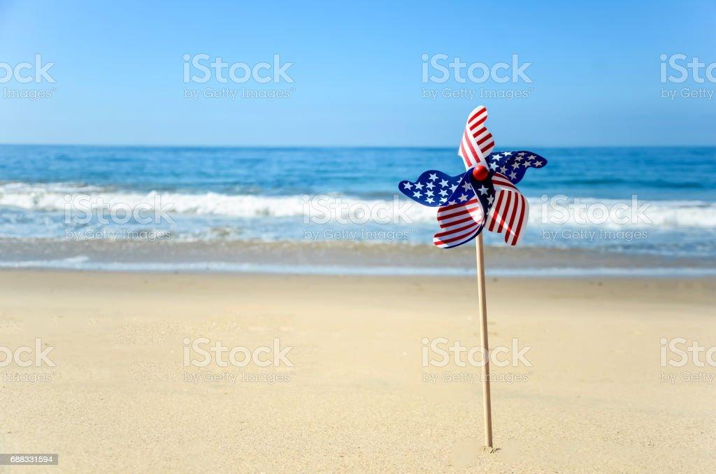 Patriotic USA background on the sandy beach stock photo