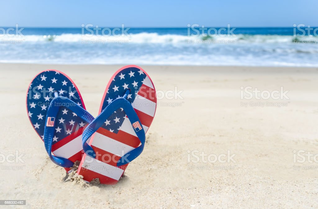 Patriotic USA background on the sandy beach stock photo