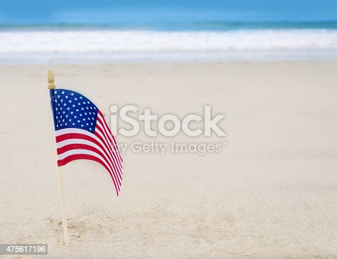 istock Patriotic USA background with American flag 475617196