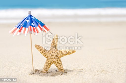 istock Patriotic USA background with starfishes 480065162