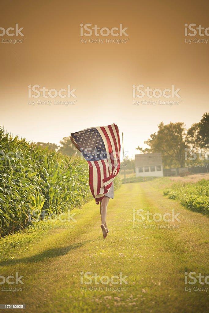 Patriotic Usa Farm Girl Waving American Flag Running By
