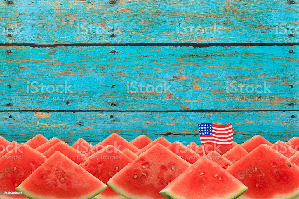 Patriotic Watermelon Picnic with US Flag in Slice stock photo