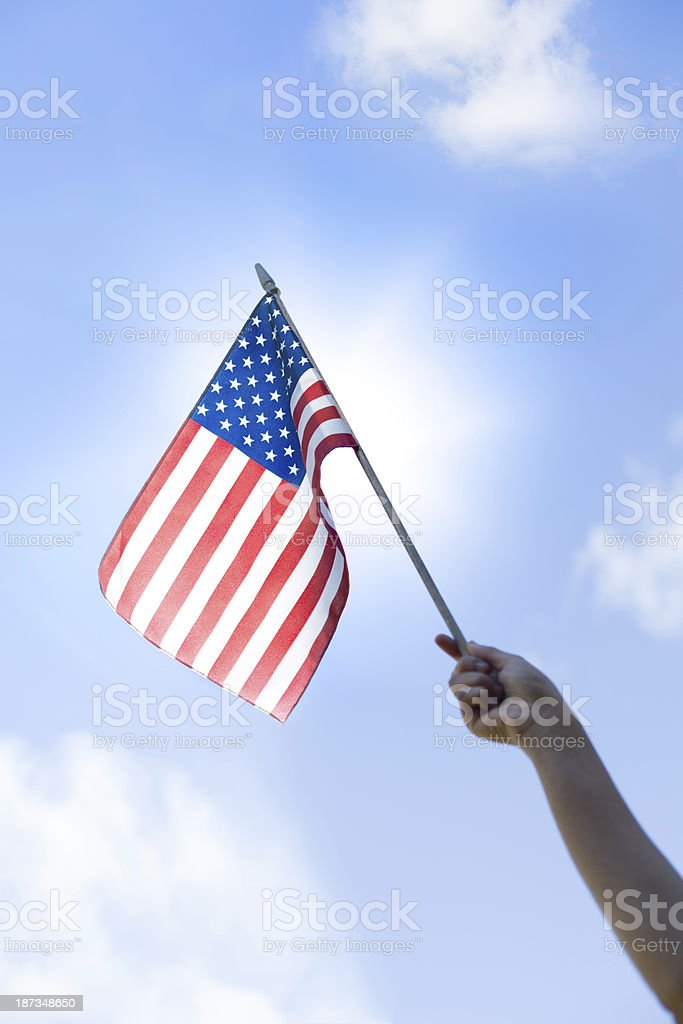 Patriotic Waving American Flag stock photo