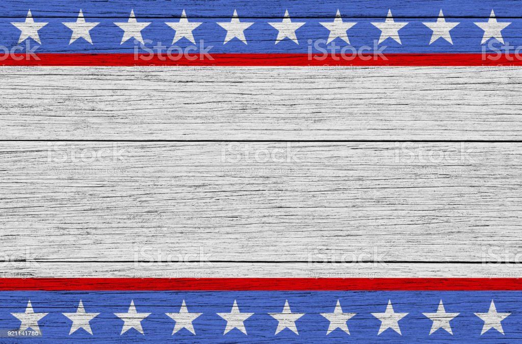 USA Patriotic wooden background stock photo