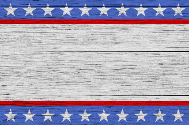 usa patriotic wooden background - vote sign stock photos and pictures