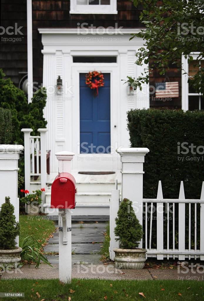 Patriotic yard in red white and blue royalty-free stock photo