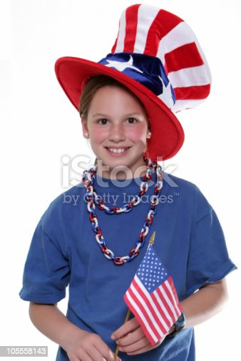 96695299 istock photo Patriotic Young Girl with Flag 105558143