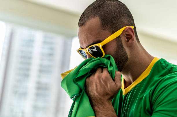 Patriotism and celebration of a Brazilian young fan stock photo
