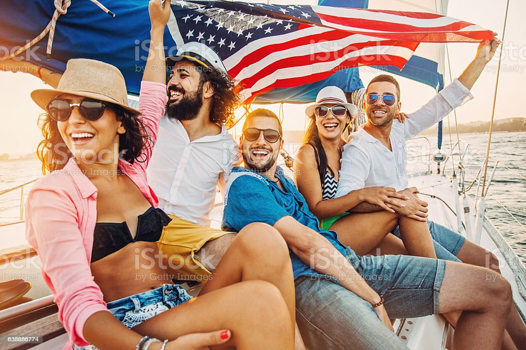 Patriotism and yachting stock photo