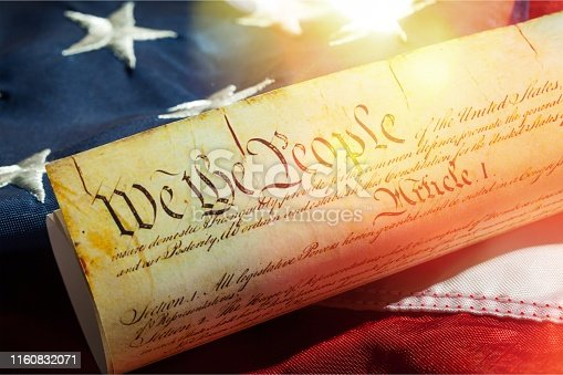 Roll of vintage US Constitution, Patriotism, Fourth of July background