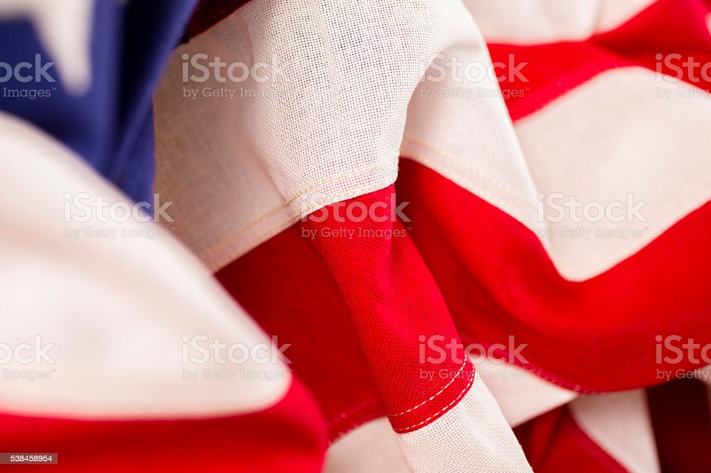 USA. Patriotism. Red, white and blue American flag. stock photo