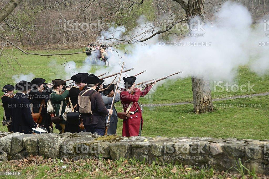 Patriot's Day Reenactment stock photo