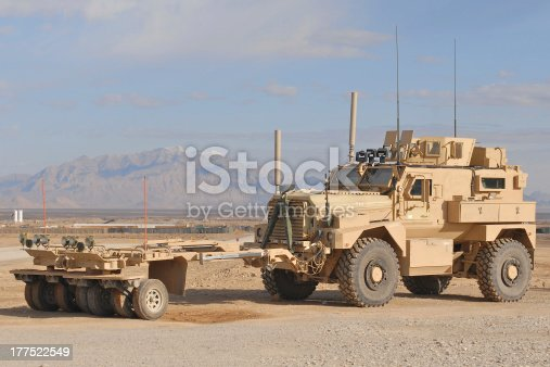 The MAXPRO version of the MRAP with the sparks mine roller attached in the desert of Afghanistan.