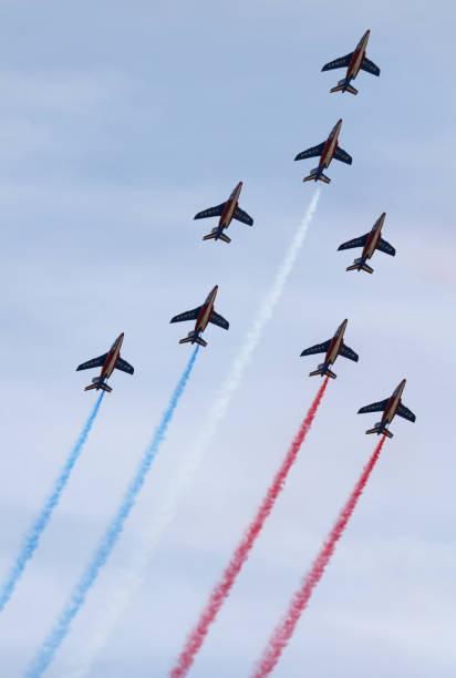 patrouille de france - airshow stock photos and pictures